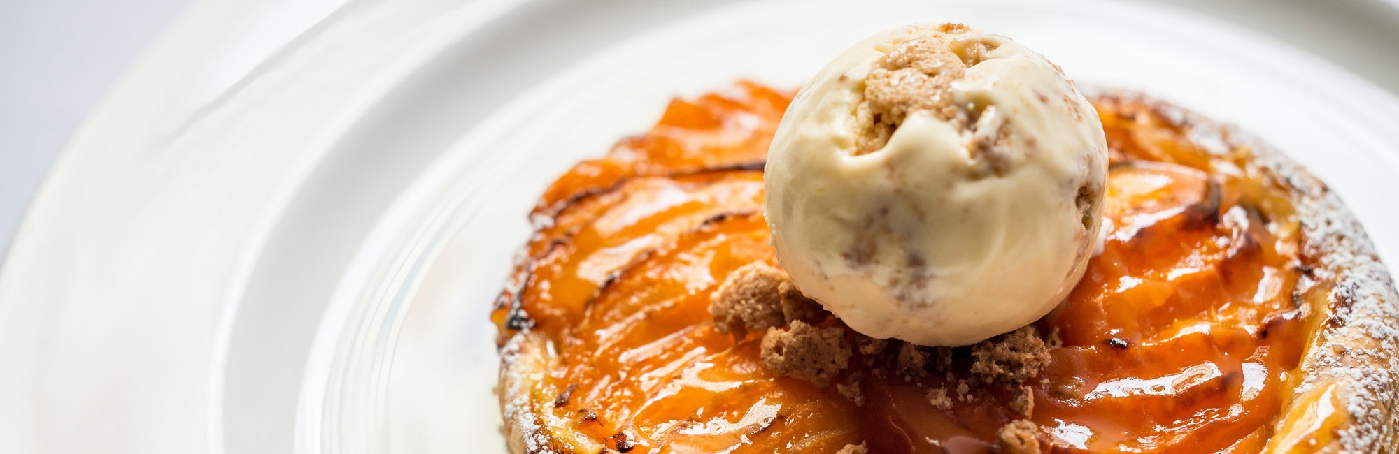 the ivy blush apricot tart with amaretti ice cream by david griffen