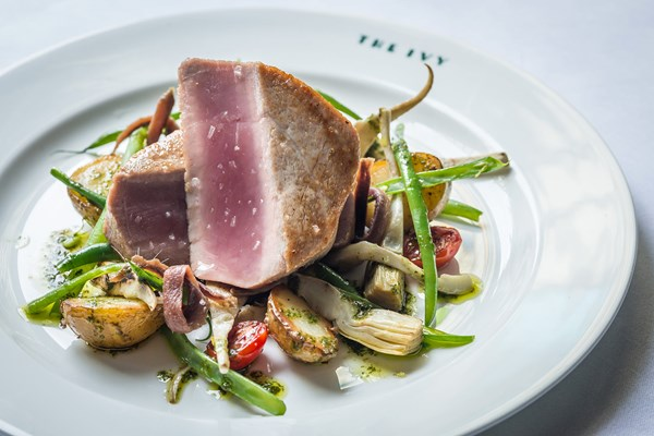 the ivy seared yellowfin tuna artichokes anchovy french beans jerseys by david griffen