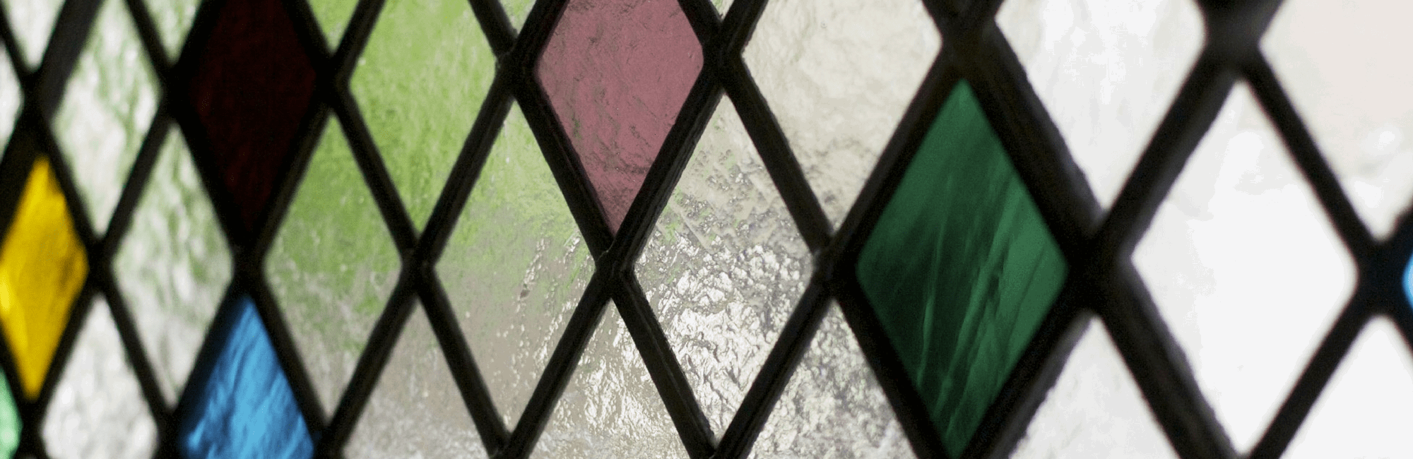 The Ivy's harlequin stained-glass windows